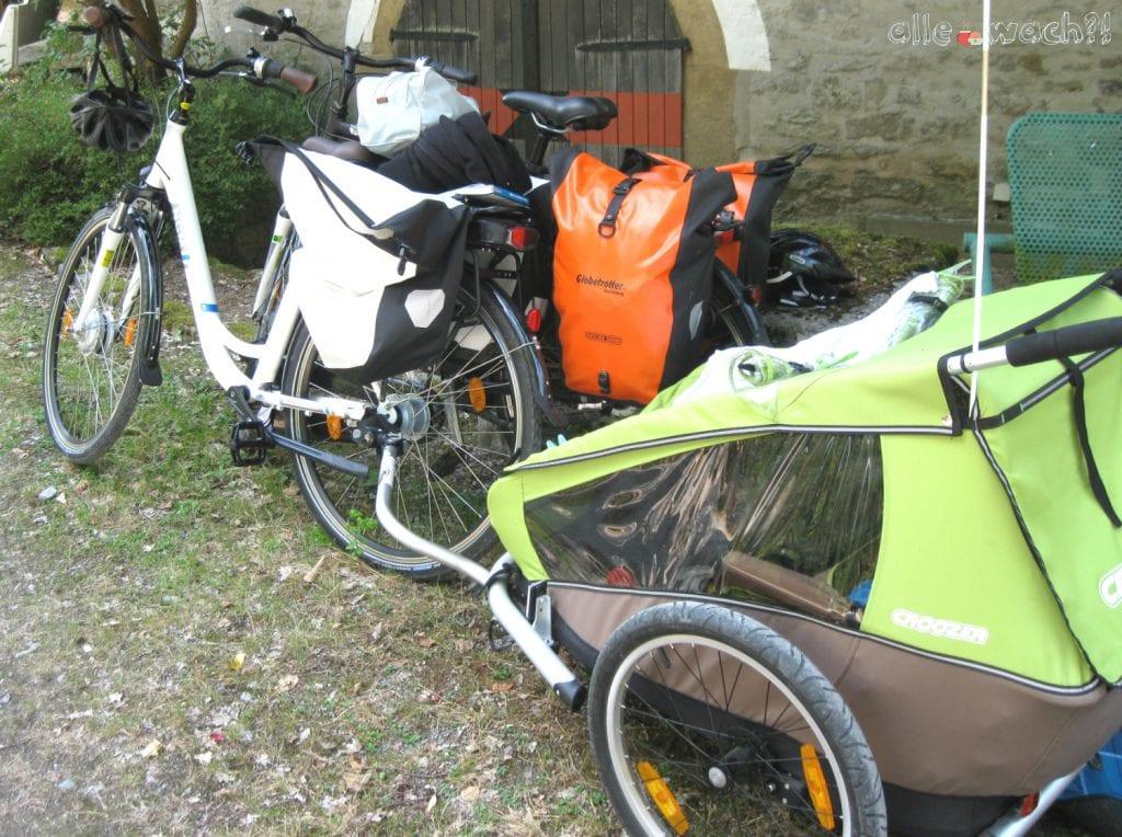 Gepäck für Fahrradreise mit Kindern