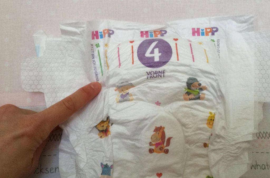 Größenindikator am Bund der Hipp Babysanft Windeln